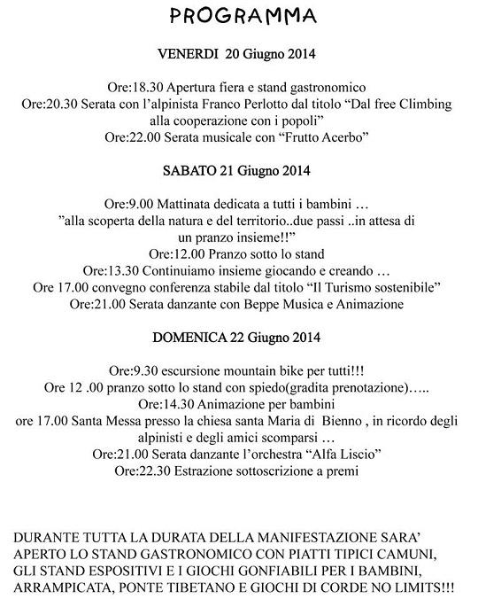 8 Fiera della Montagna 2014 Bienno programma