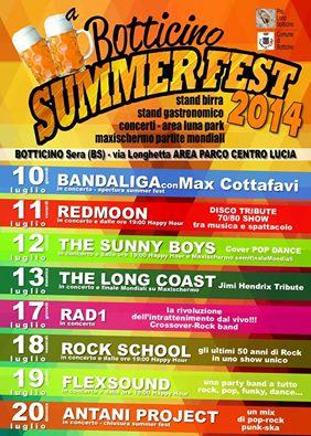 Botticino Summer Fest 2014 Programma