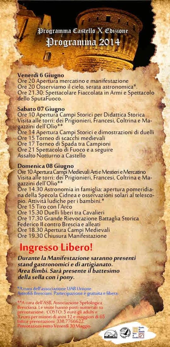 Federico II e l'assedio di Brescia 2014 (Programma)