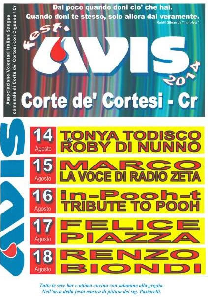 Festa AVIS a Corte de Cortesi (CR)