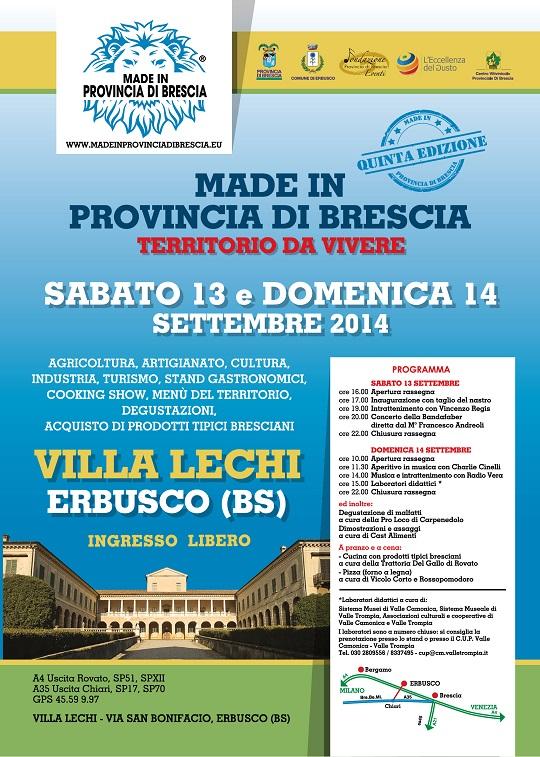 Made in Provincia di Brescia - Erbusco 2014 programma completo
