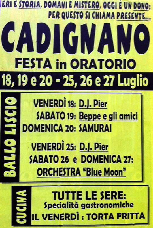 cadignano festa in oratorio