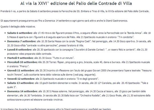 26° Palio delle Contrade di Villa Carcina