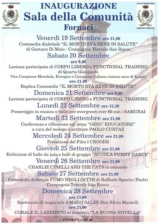 Settimana d'inaugurazione della SALA DELLA COMUNITA' Oratorio Fornaci