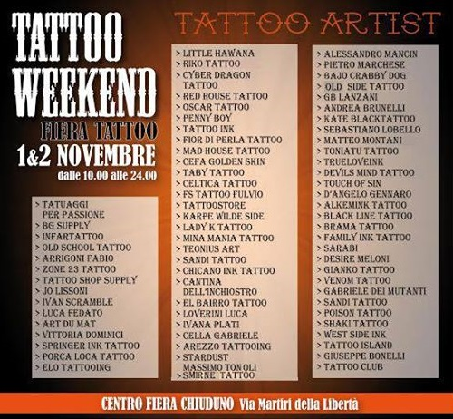 Tattoo Weekend Chiuduno Tatuatori