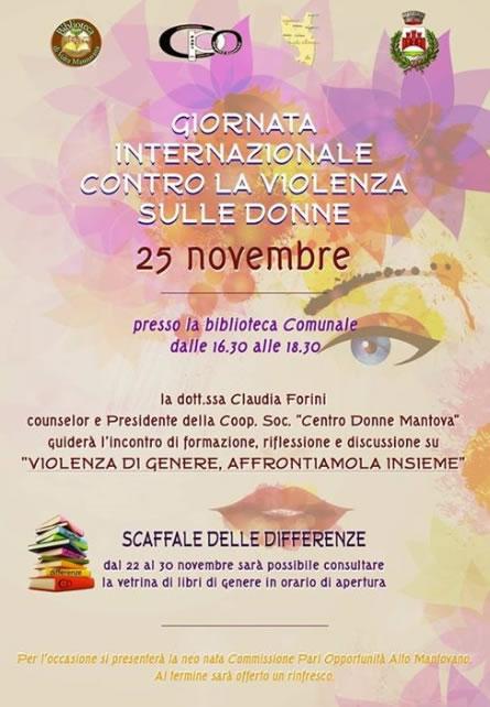Giornata Internazionale Contro la Violenza sulle Donne a Volta Mantovana MN