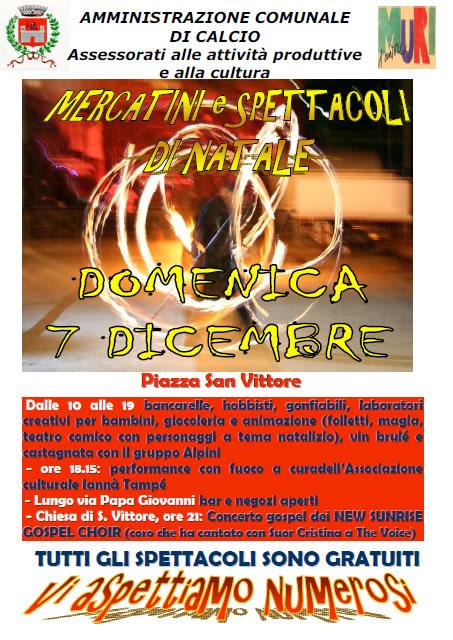 Mercatini e Spettacoli di Natale a Calcio (BG)