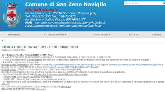Mercatino di Natale 2014 a San Zeno N