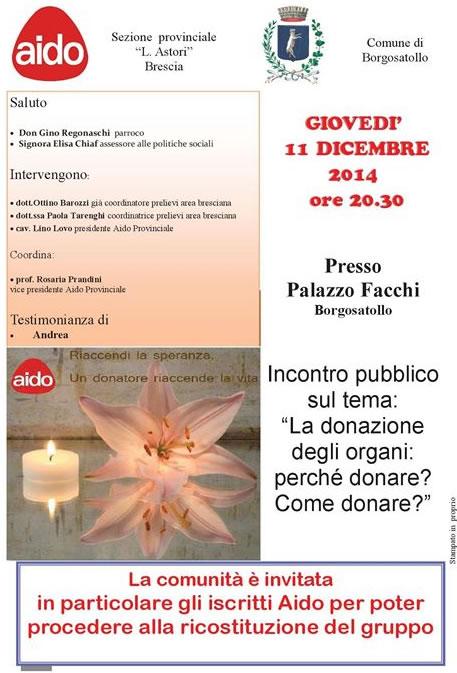 Incontro sulla Donazione deglii Organi a Borgosatollo