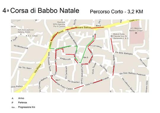 Percorso corto - 4a Corsa di Babbo Natale a Chiari