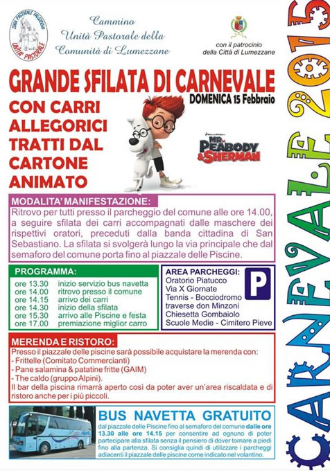 Grande Sfilata di Carnevale 2015 a Lumezzane