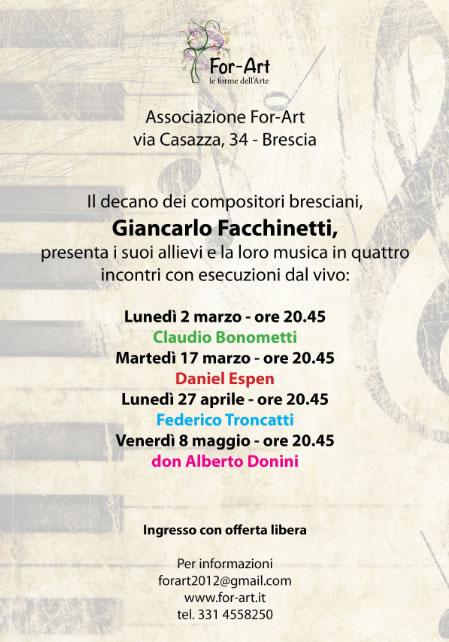 Incontro con Giancarlo Facchinetti a Brescia