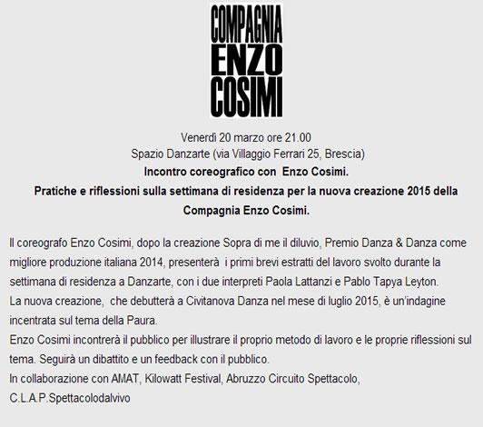 Incontro coreografico con  Enzo Cosimi a Brescia