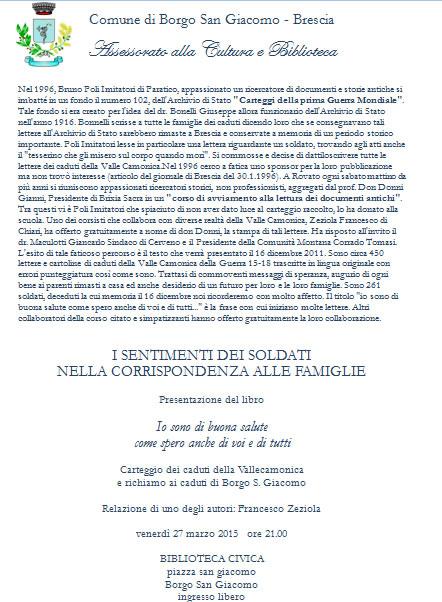 Presentazione libro a Borgo San Giacomo