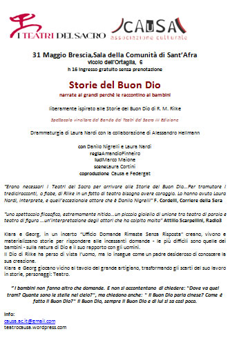 Spettacolo Storie del Buon Dio a Brescia