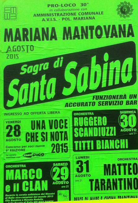 Sagra di Santa Sabina a Mariana Mantovana MN