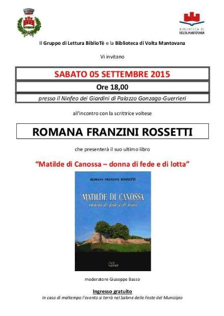Incontro con la scrittrice voltese Romana Franzini Rossetti a Volta MN