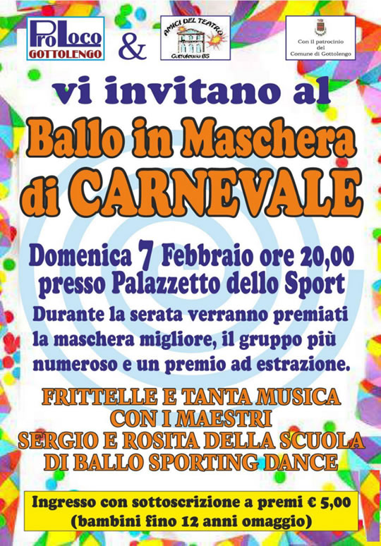 Ballo in Maschera di Carnevale a Gottolengo