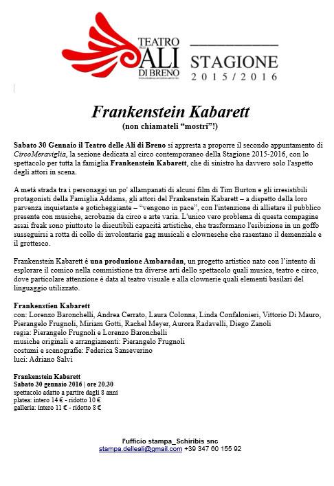 Frankenstein Kabarett a Breno