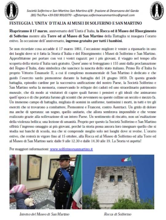 155° anniversario dell'Unità d'Italia a Solferino
