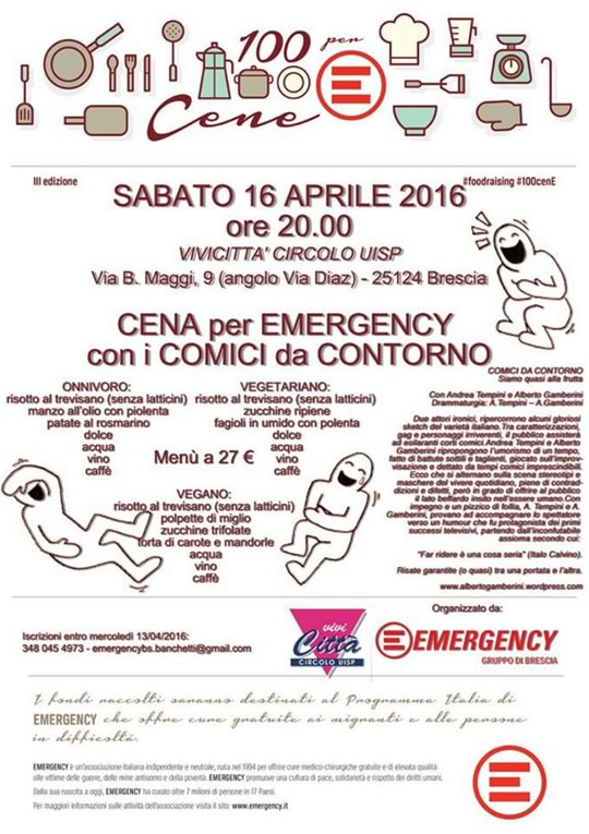 Cena per Emergency con i Comici da Contorno a Brescia