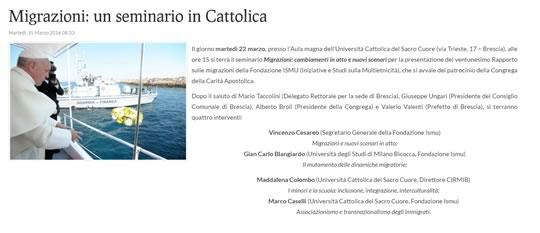 Migrazioni un seminario in Cattolica a Brescia