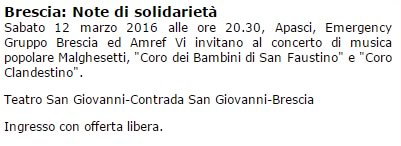 Note di Solidarietà a Brescia