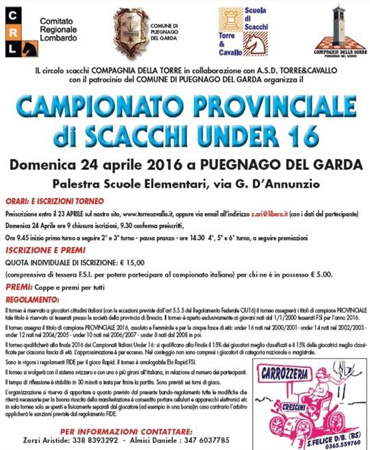 Campionato Provinciale di Scacchi under 16 a Puegnago