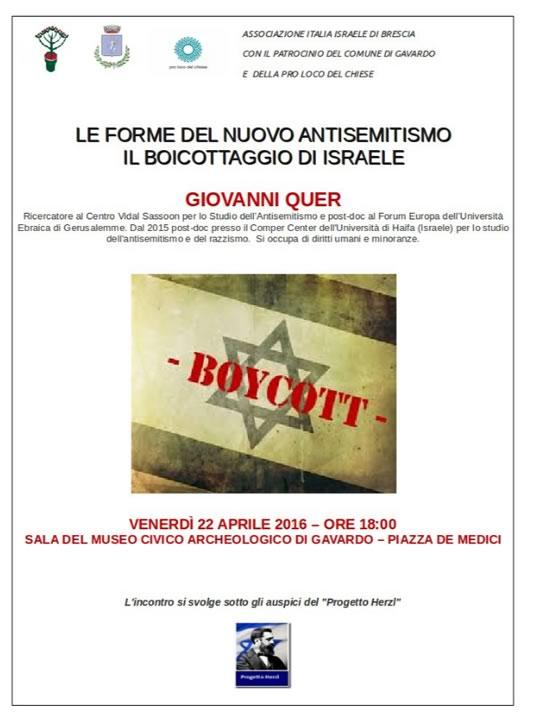 Le Forme del Nuovo Antisemitismo il Boicottaggio di Israele a Gavardo