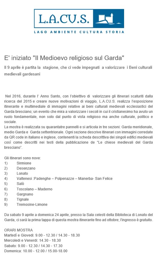 Medioevo Religioso sul Garda