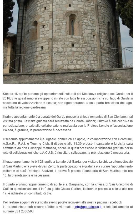 Medioevo Religioso sul Lago di Garda