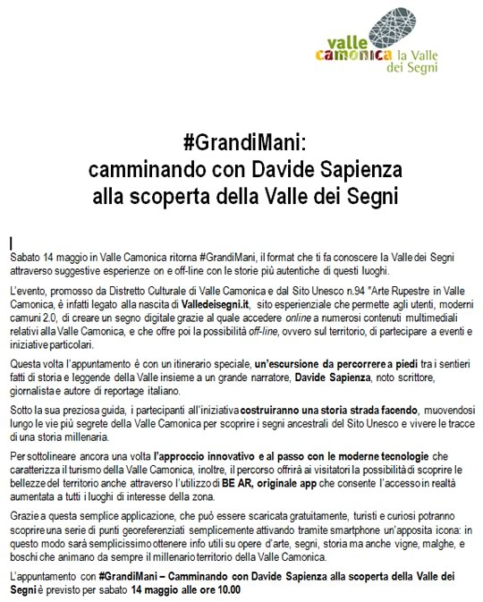 Bentornato Grandii Mani Darfo Boario Terme