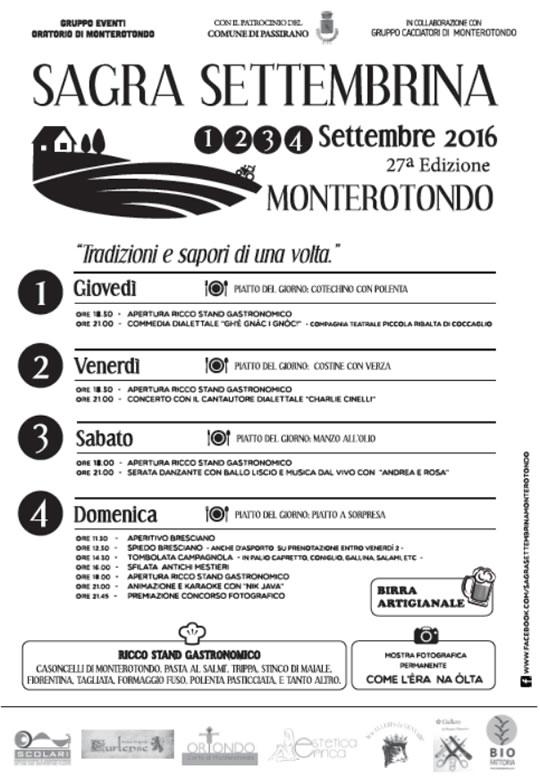 27° Sagra Settembrina a Monterotondo di Passirano