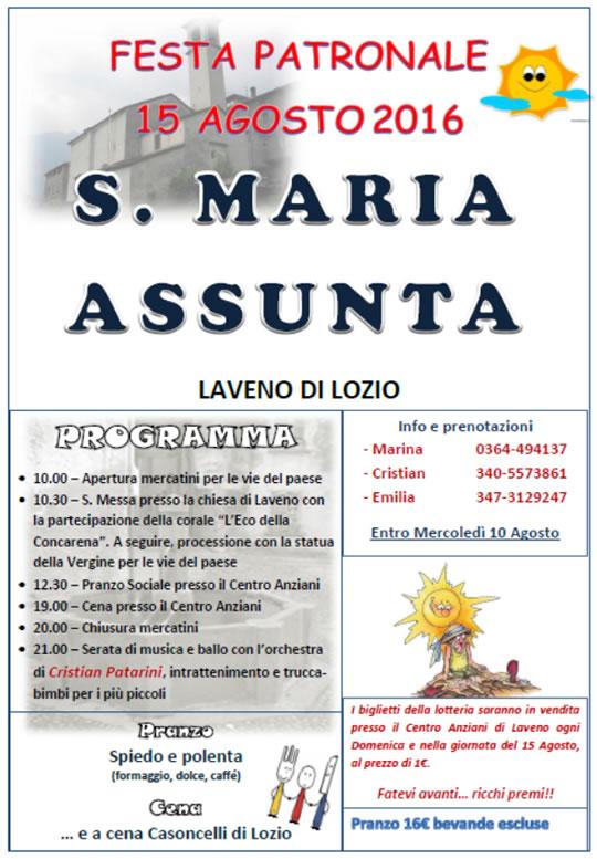 Festa Patronale S. Maria Assunta a Lozio di Laveno