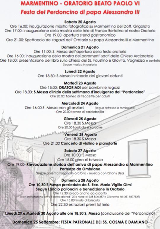 Festa del Perdoncino di Papa Alessandro III a Marmentino