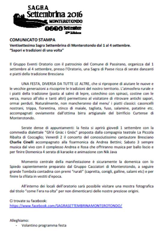 Sagra Settembrina a Monterotondo di Passirano