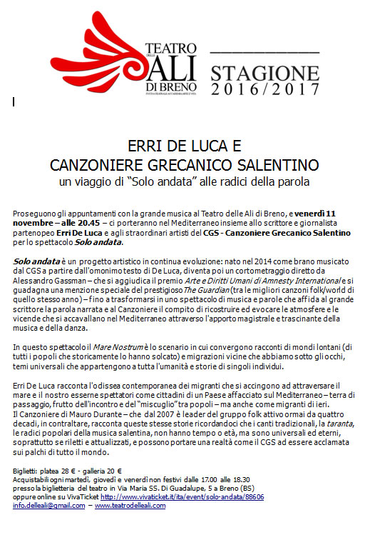 Erri De luca e Canzoniere Grecanico Salentino a Breno