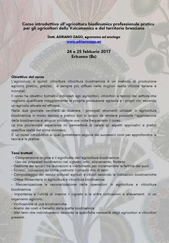 Corso Agricoltura Biodinamica a Erbanno