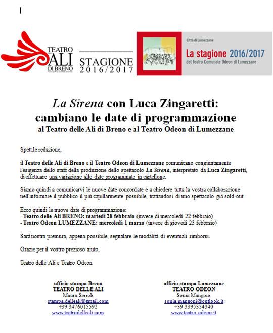 La Sirena con Luca Zingaretti a Breno e Lumezzane