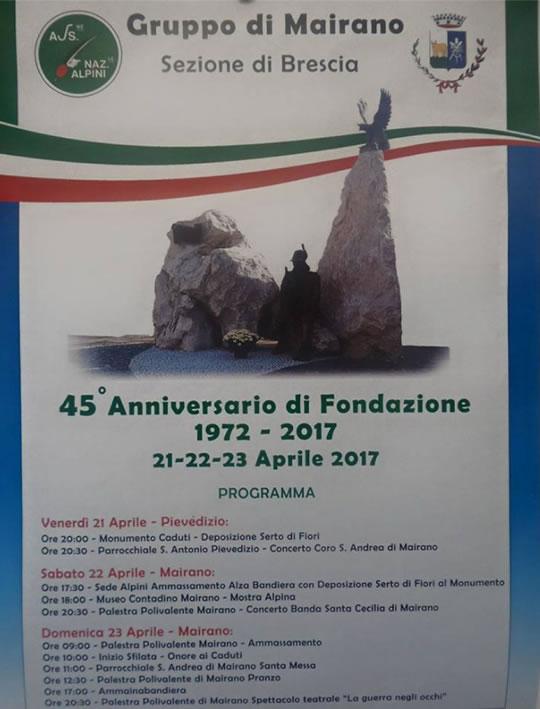 45 Anniversario di Fondazione Alpini Mairano