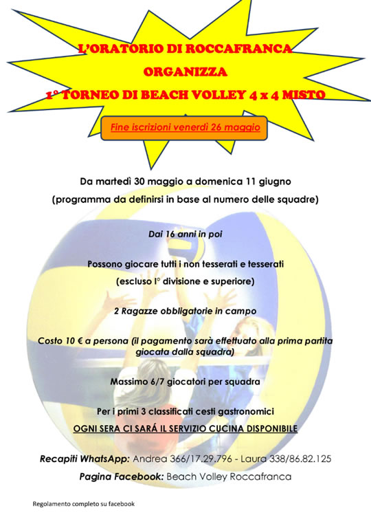 Torneo di Beach Volley a Roccafranca