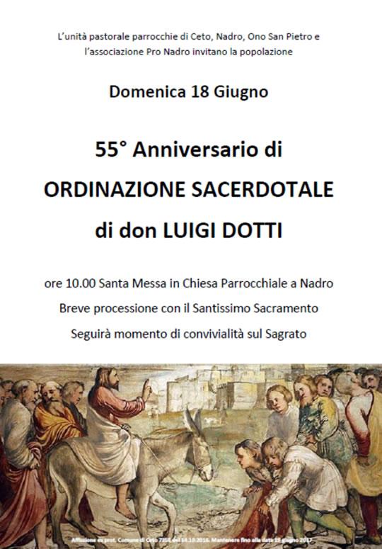 55° Anniversario di Ordinazione Sacerdotale di don Luigi Dotti a Nadro