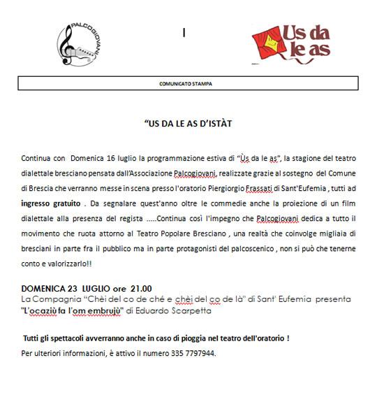 Us Da le As d'Istat a Brescia
