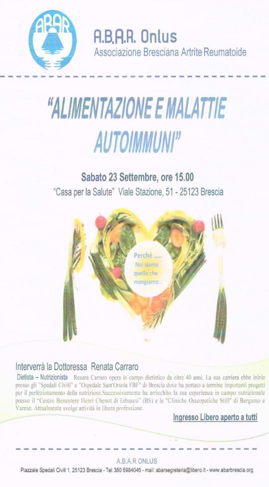 Alimentazione e Malattie Autoimmuni Incontro a Brescia