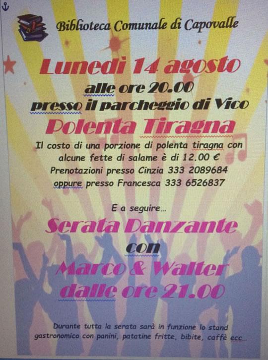 Serata Danzante con Polenta Tiragna a Capovalle