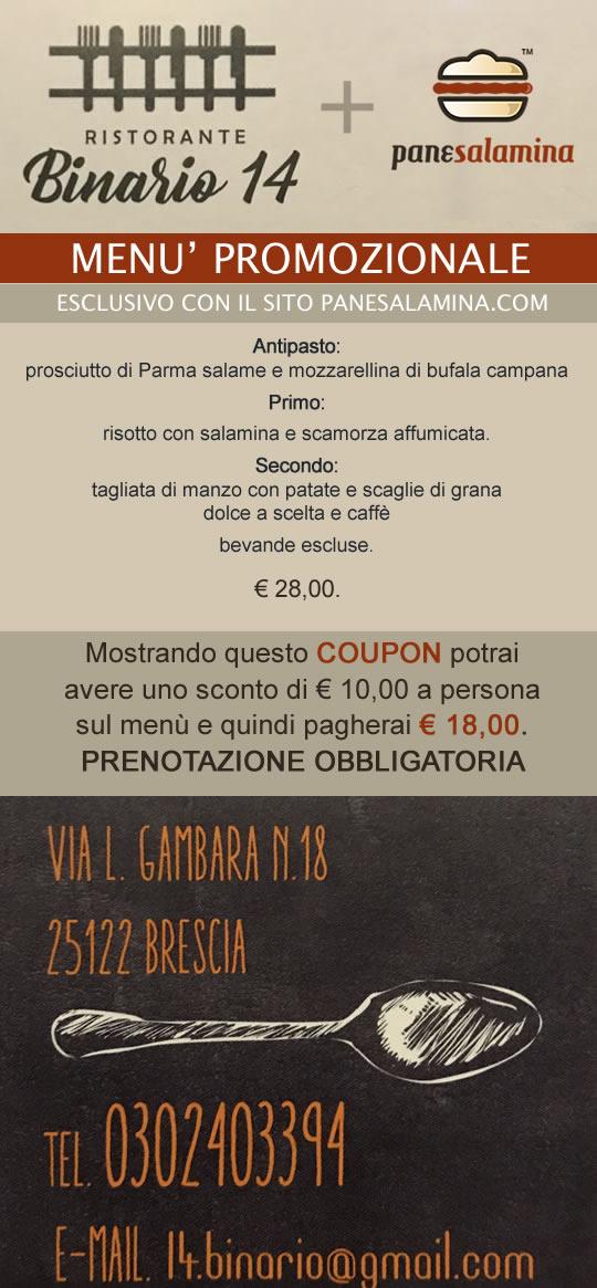 coupon sconto panesalamina e ristorante binario 14