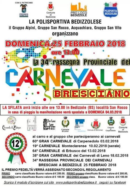 34 Rassegna Provinciale del Carnevale Bresciano a Bedizzole