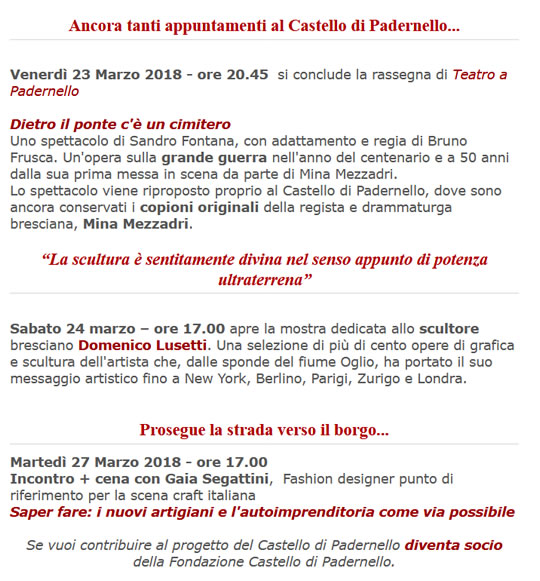 Spettacoli e Incontri al Castello di Padernello