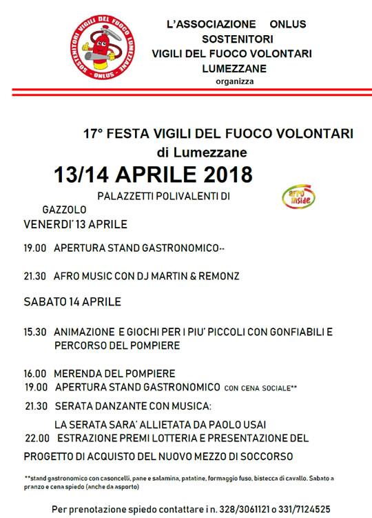 Festa dei Vigili del Fuoco Volontari a Lumezzane