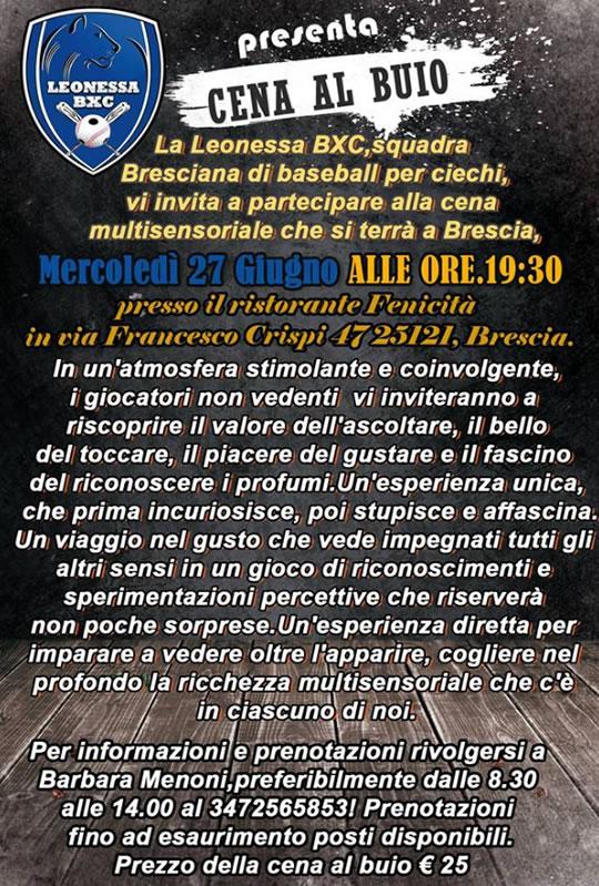 Cena al Buio a Brescia